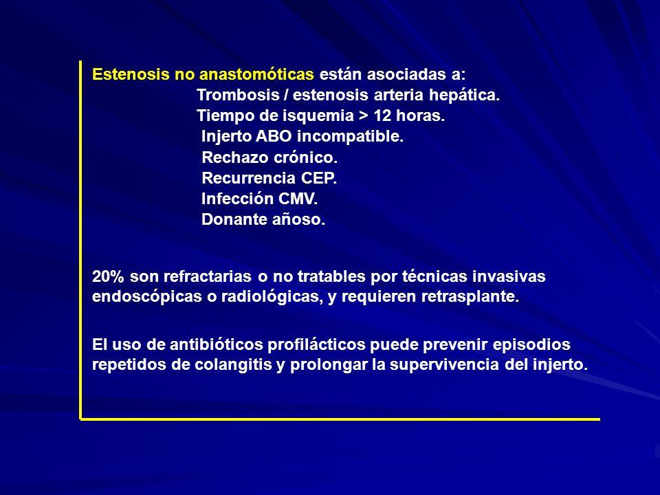 Estenosis no anastomóticas están asociadas a: Tiempo de isquemia > 12 horas. Injerto ABO incompatible. Rechazo crónico. Recurrencia CEP. Infección CMV