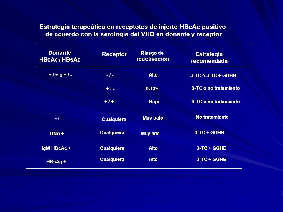 Estrategia terapeútica en receptotes de injerto HBcAc positivo de acuerdo con la serología del VHB en donante y receptor Donante HBcAc / HBsAc Recepto