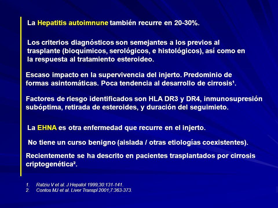 La Hepatitis autoimnune también recurre en 20-30%. Los criterios diagnósticos son semejantes a los previos al trasplante (bioquímicos, serológicos, e