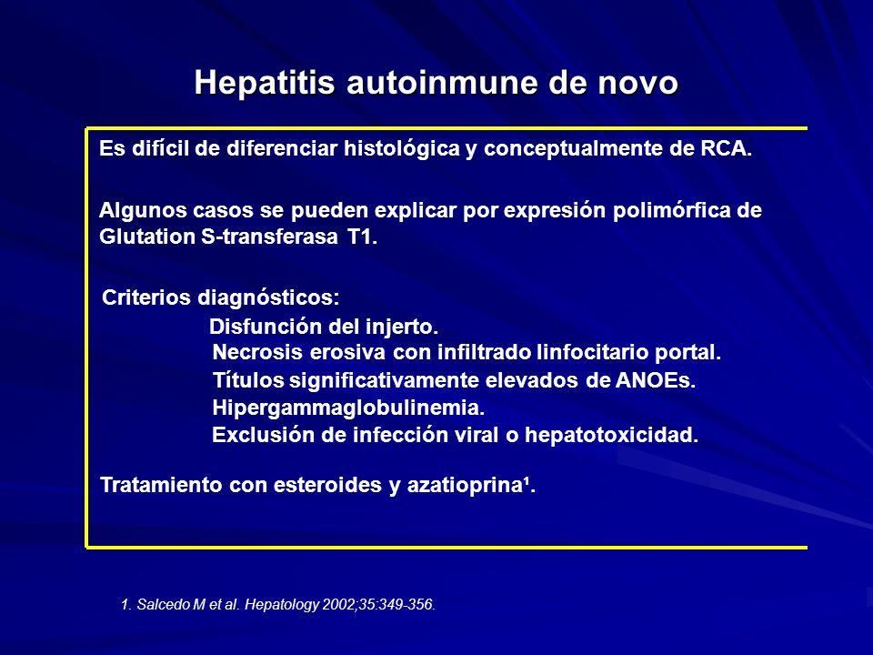 Hepatitis autoinmune de novo Es difícil de diferenciar histológica y conceptualmente de RCA. Algunos casos se pueden explicar por expresión polimórfic