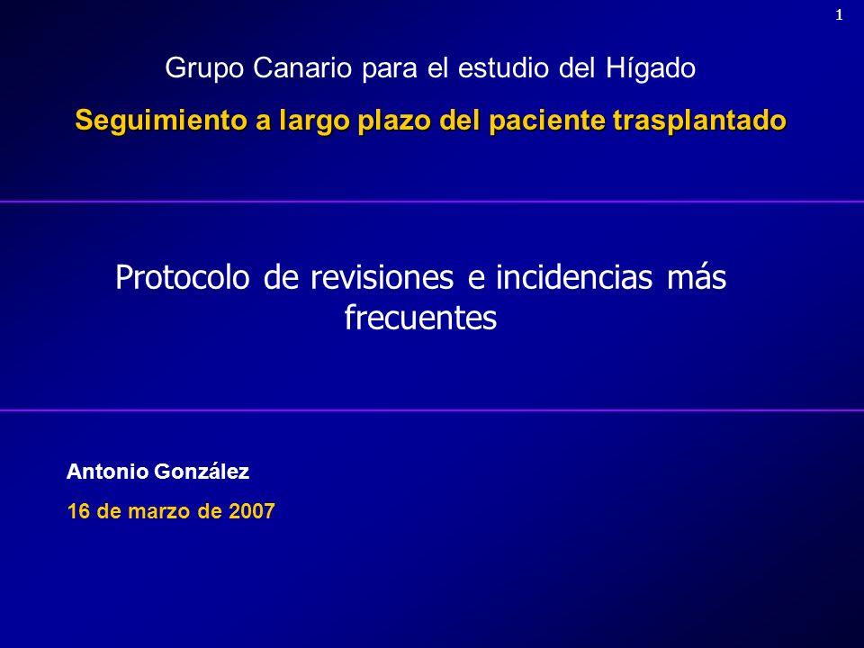 22 Objetivos de la revisión Estado general del paciente Control de la función del injerto Monitorización de la inmunosupresión Manejo de complicaciones de inmunosupresión Profilaxis infecciosa Problemas clínicos intercurrentes