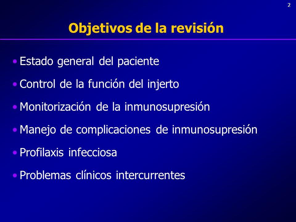 33 Objetivos de la revisión Estado general del paciente Control de la función del injerto Monitorización de la inmunosupresión Manejo de complicaciones de inmunosupresión Profilaxis infecciosa Problemas clínicos intercurrentes