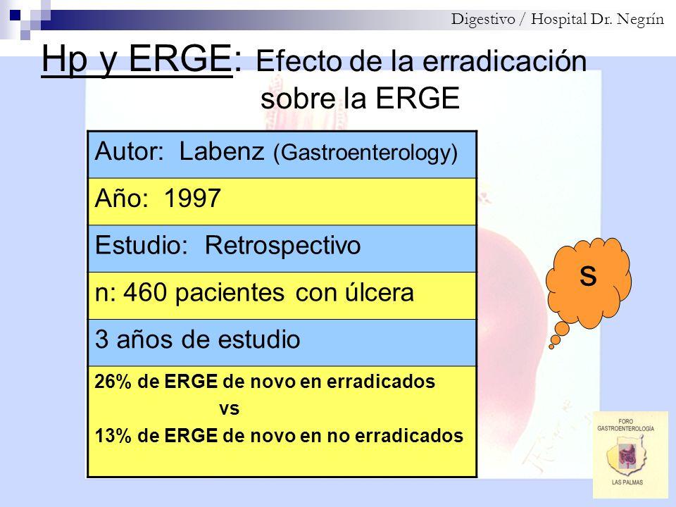 Hp y ERGE: Efecto de la erradicación sobre la ERGE Digestivo / Hospital Dr. Negrín Autor: Labenz (Gastroenterology) Año: 1997 Estudio: Retrospectivo n