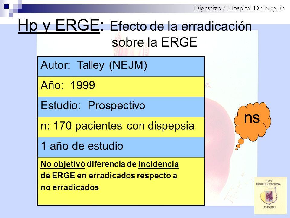 Hp y ERGE: Efecto de la erradicación sobre la ERGE Digestivo / Hospital Dr. Negrín Autor: Talley (NEJM) Año: 1999 Estudio: Prospectivo n: 170 paciente