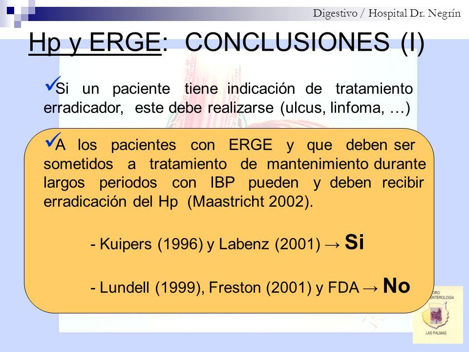 Hp y ERGE: CONCLUSIONES (I) Digestivo / Hospital Dr. Negrín Si un paciente tiene indicación de tratamiento erradicador, este debe realizarse (ulcus, l