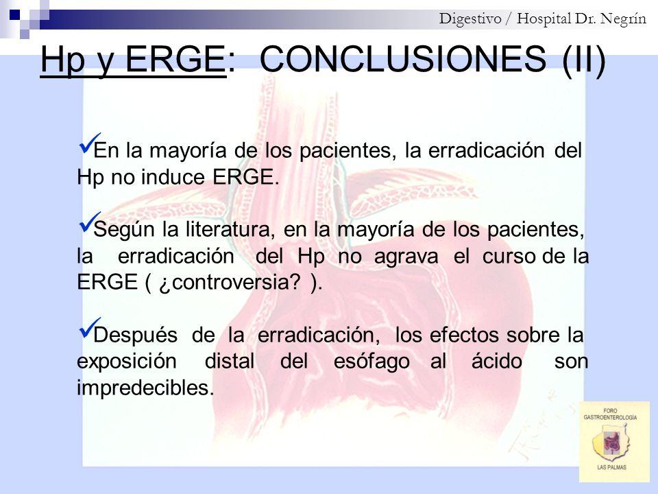 Hp y ERGE: CONCLUSIONES (II) Digestivo / Hospital Dr. Negrín En la mayoría de los pacientes, la erradicación del Hp no induce ERGE. Según la literatur