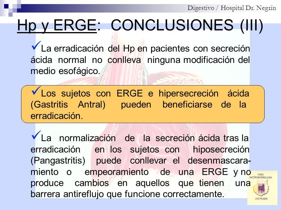 Hp y ERGE: CONCLUSIONES (III) Digestivo / Hospital Dr. Negrín La erradicación del Hp en pacientes con secreción ácida normal no conlleva ninguna modif