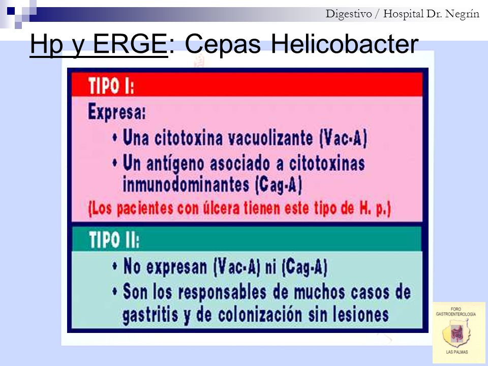Hp y ERGE: Datos estadísticos Digestivo / Hospital Dr.