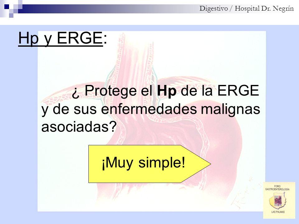 Hp y ERGE: Digestivo / Hospital Dr. Negrín ¿ Protege el Hp de la ERGE y de sus enfermedades malignas asociadas? ¡Muy simple!