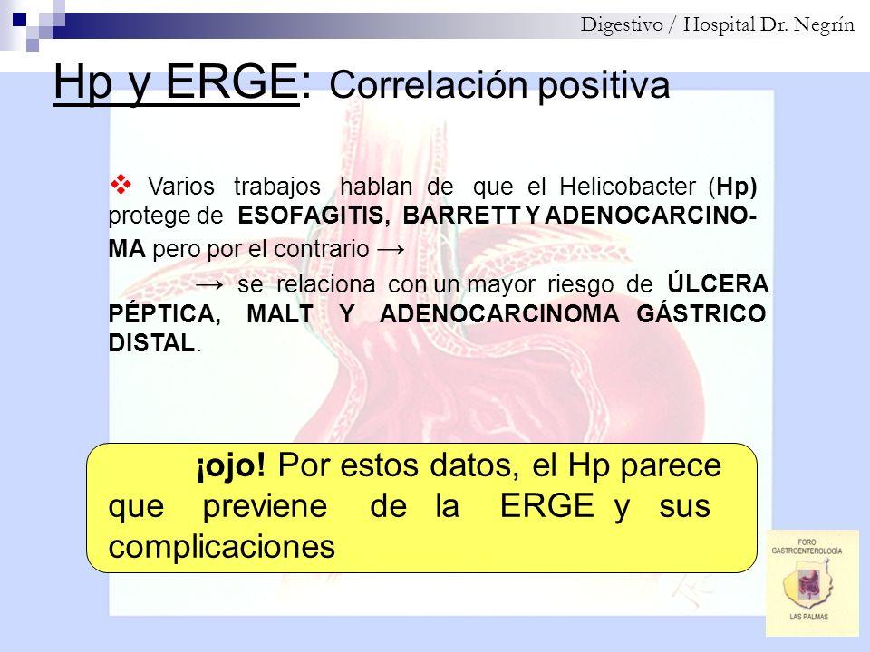 Hp y ERGE: Correlación positiva Digestivo / Hospital Dr. Negrín Varios trabajos hablan de que el Helicobacter (Hp) protege de ESOFAGITIS, BARRETT Y AD