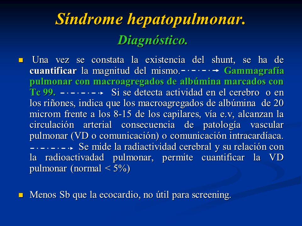 Síndrome hepatopulmonar. Diagnóstico. Una vez se constata la existencia del shunt, se ha de cuantificar la magnitud del mismo. Gammagrafía pulmonar co