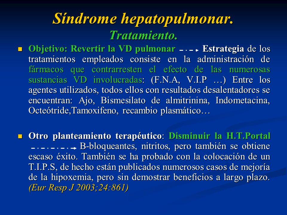 Síndrome hepatopulmonar. Tratamiento. Objetivo: Revertir la VD pulmonar Estrategia de los tratamientos empleados consiste en la administración de fárm