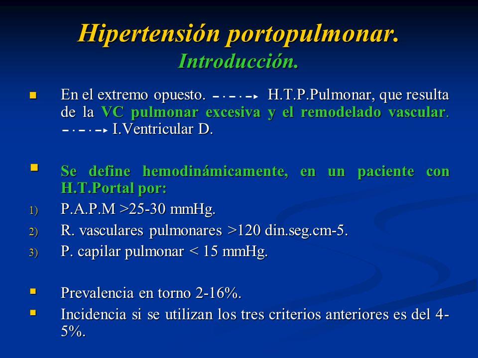 Hipertensión portopulmonar. Introducción. En el extremo opuesto.H.T.P.Pulmonar, que resulta de la VC pulmonar excesiva y el remodelado vascular. I.Ven