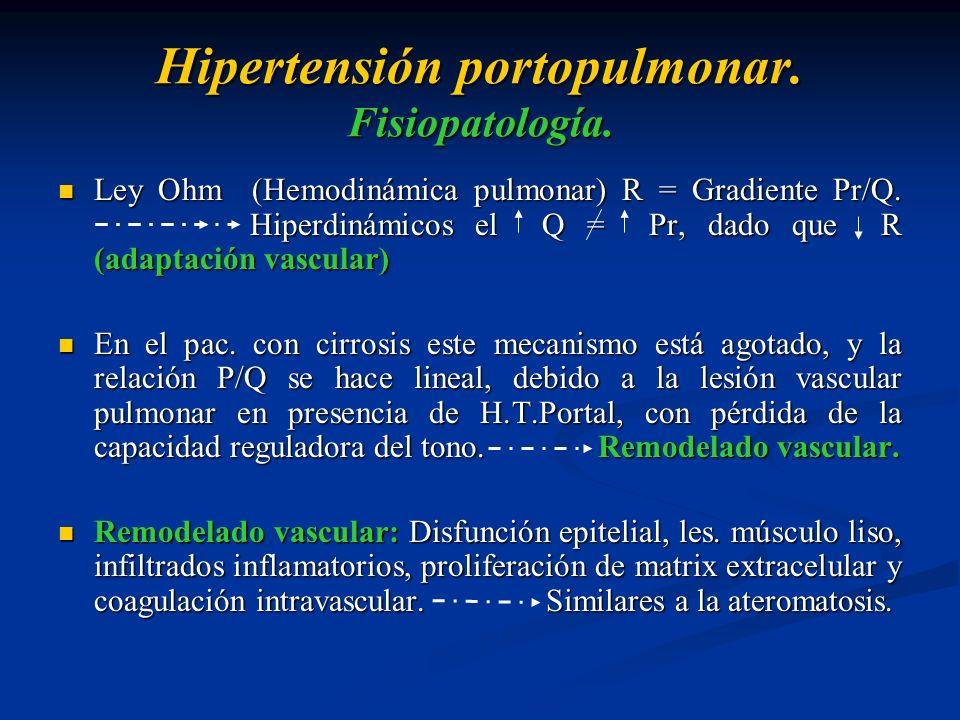Hipertensión portopulmonar. Fisiopatología. Ley Ohm (Hemodinámica pulmonar) R = Gradiente Pr/Q. Hiperdinámicos el Q = Pr, dado que R (adaptación vascu