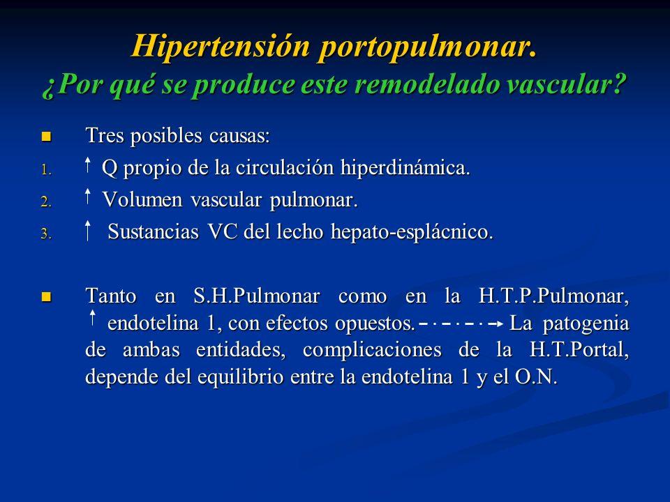Hipertensión portopulmonar. ¿Por qué se produce este remodelado vascular? Tres posibles causas: Tres posibles causas: 1. Q propio de la circulación hi