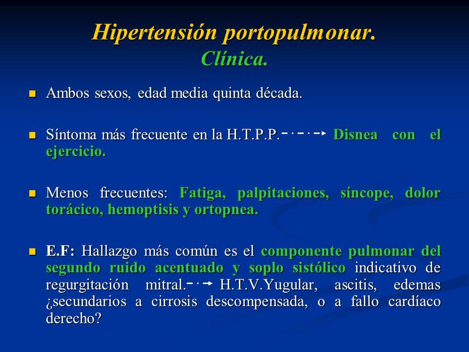 Hipertensión portopulmonar. Clínica. Ambos sexos, edad media quinta década. Ambos sexos, edad media quinta década. Síntoma más frecuente en la H.T.P.P