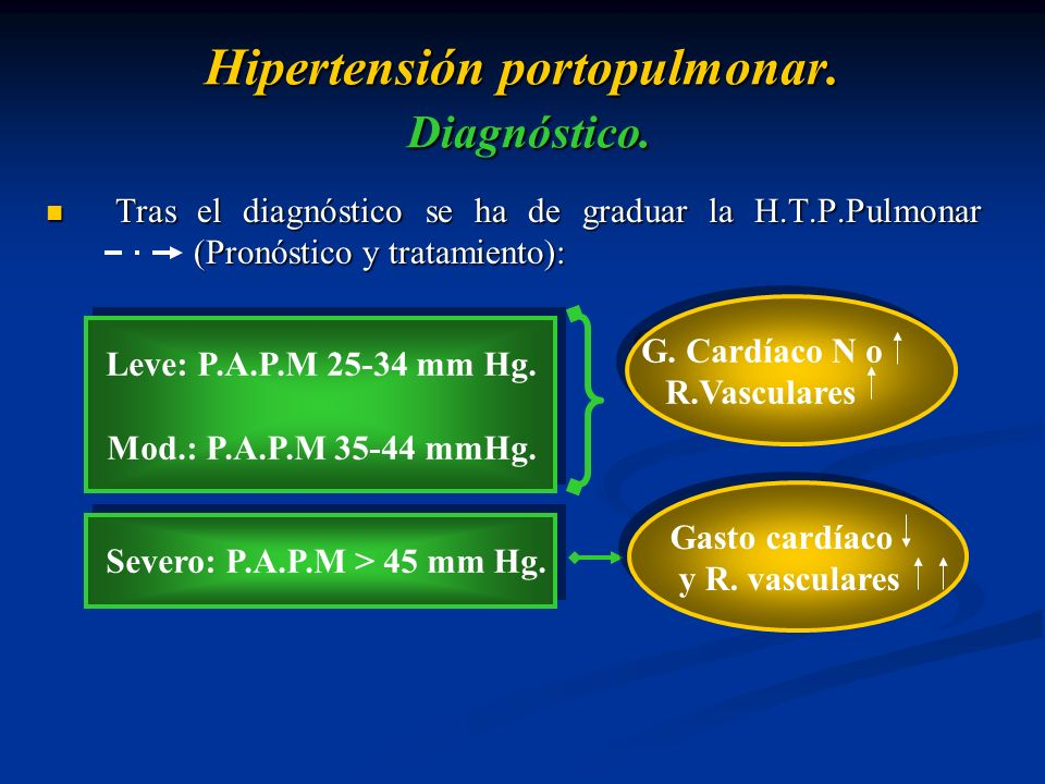 Hipertensión portopulmonar. Diagnóstico. Tras el diagnóstico se ha de graduar la H.T.P.Pulmonar (Pronóstico y tratamiento): Tras el diagnóstico se ha