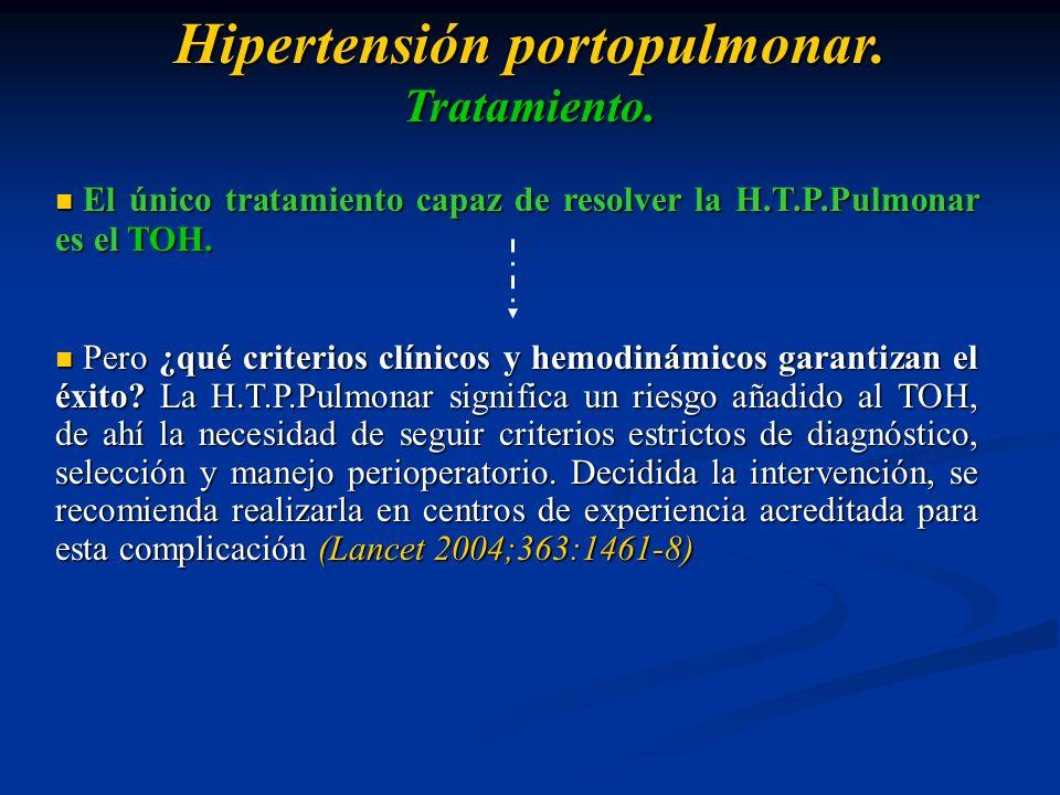 El único tratamiento capaz de resolver la H.T.P.Pulmonar es el TOH. El único tratamiento capaz de resolver la H.T.P.Pulmonar es el TOH. Pero ¿qué crit