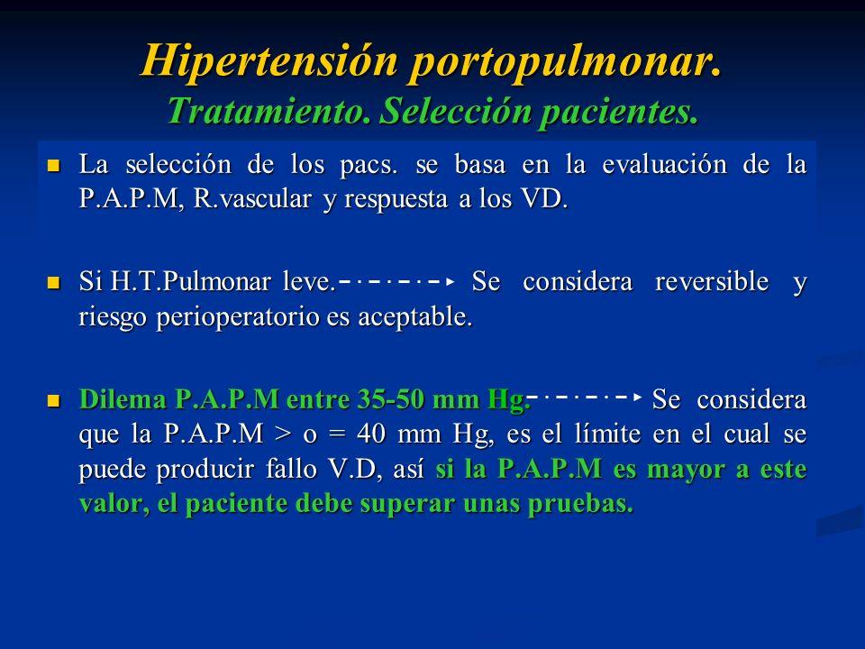 Hipertensión portopulmonar. Tratamiento. Selección pacientes. La selección de los pacs. se basa en la evaluación de la P.A.P.M, R.vascular y respuesta