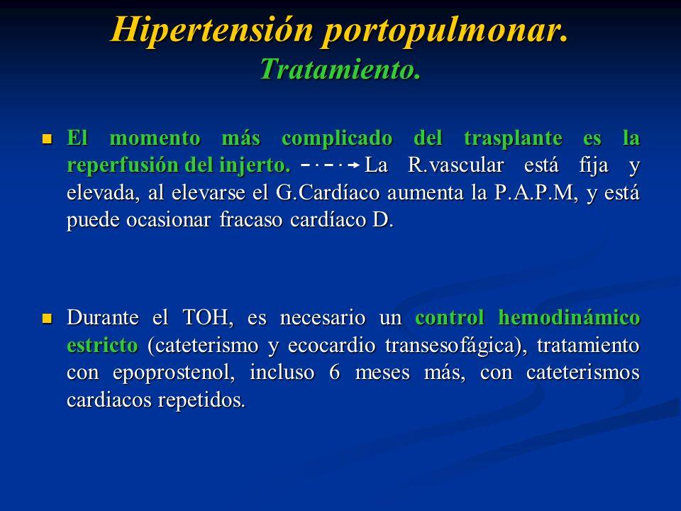 Hipertensión portopulmonar. Tratamiento. El momento más complicado del trasplante es la reperfusión del injerto. La R.vascular está fija y elevada, al