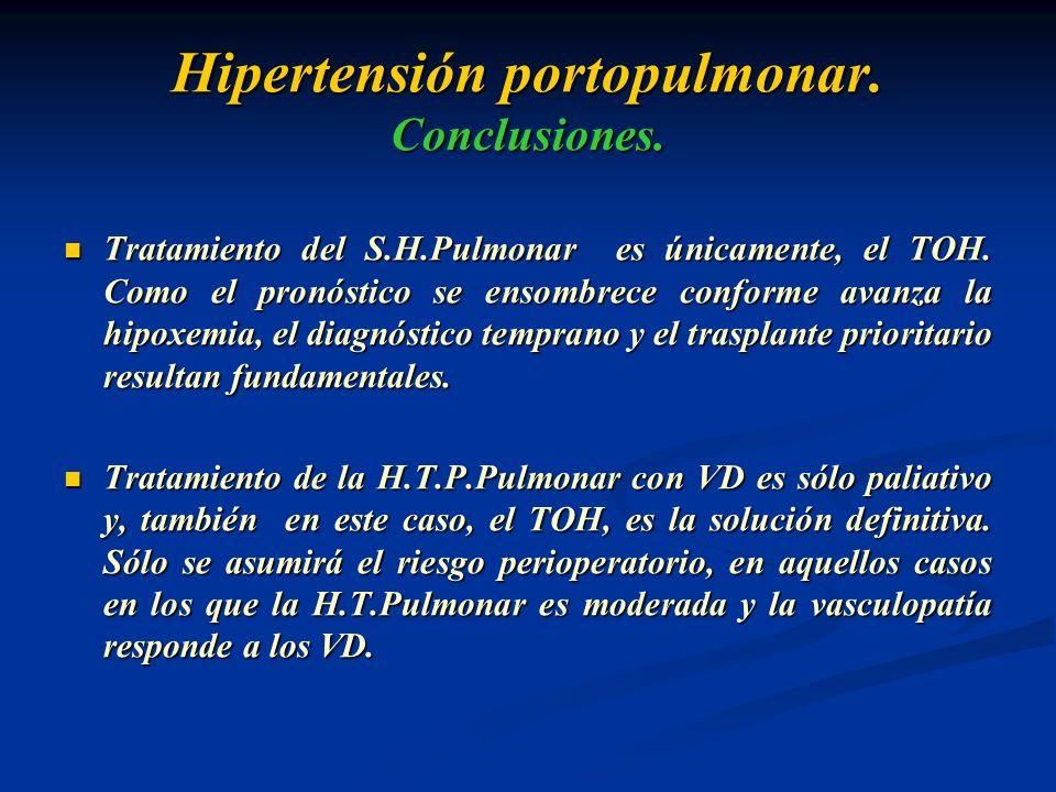 Hipertensión portopulmonar. Conclusiones. Tratamiento del S.H.Pulmonar es únicamente, el TOH. Como el pronóstico se ensombrece conforme avanza la hipo