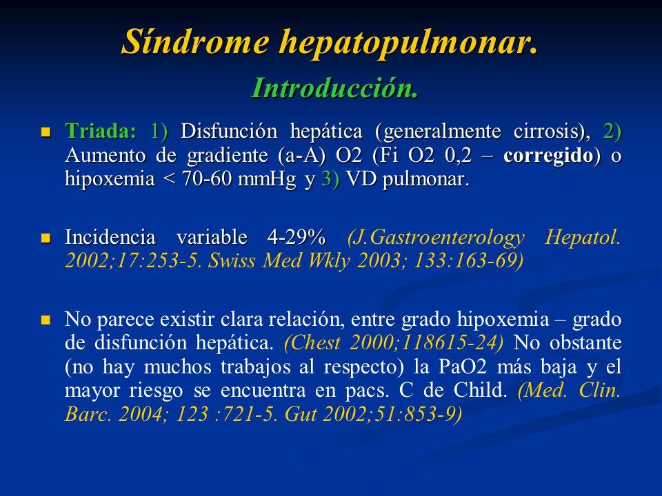 Síndrome hepatopulmonar. Introducción. Triada: 1) Disfunción hepática (generalmente cirrosis), 2) Aumento de gradiente (a-A) O2 (Fi O2 0,2 – corregido