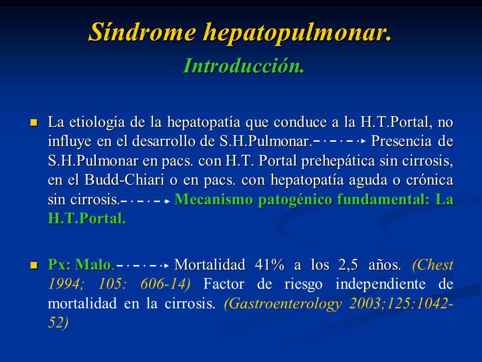 Síndrome hepatopulmonar. Introducción. La etiología de la hepatopatía que conduce a la H.T.Portal, no influye en el desarrollo de S.H.Pulmonar. Presen
