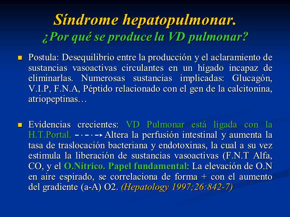 Síndrome hepatopulmonar. ¿Por qué se produce la VD pulmonar? Postula: Desequilibrio entre la producción y el aclaramiento de sustancias vasoactivas ci