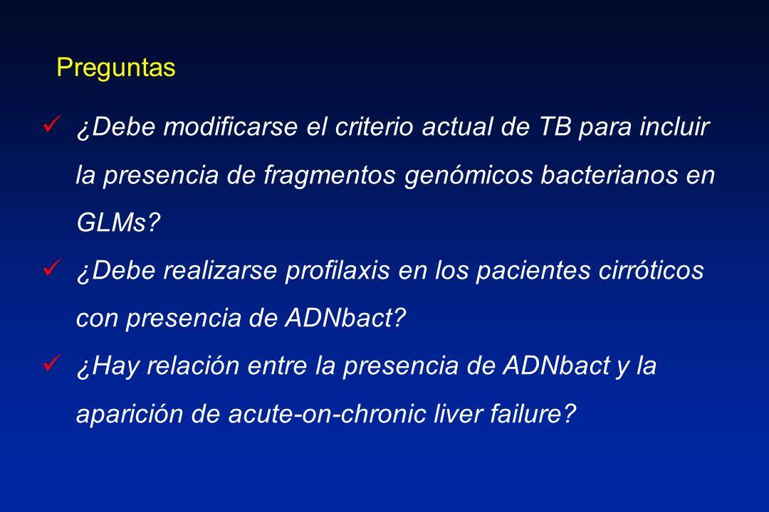 Preguntas ¿Debe modificarse el criterio actual de TB para incluir la presencia de fragmentos genómicos bacterianos en GLMs? ¿Debe realizarse profilaxi