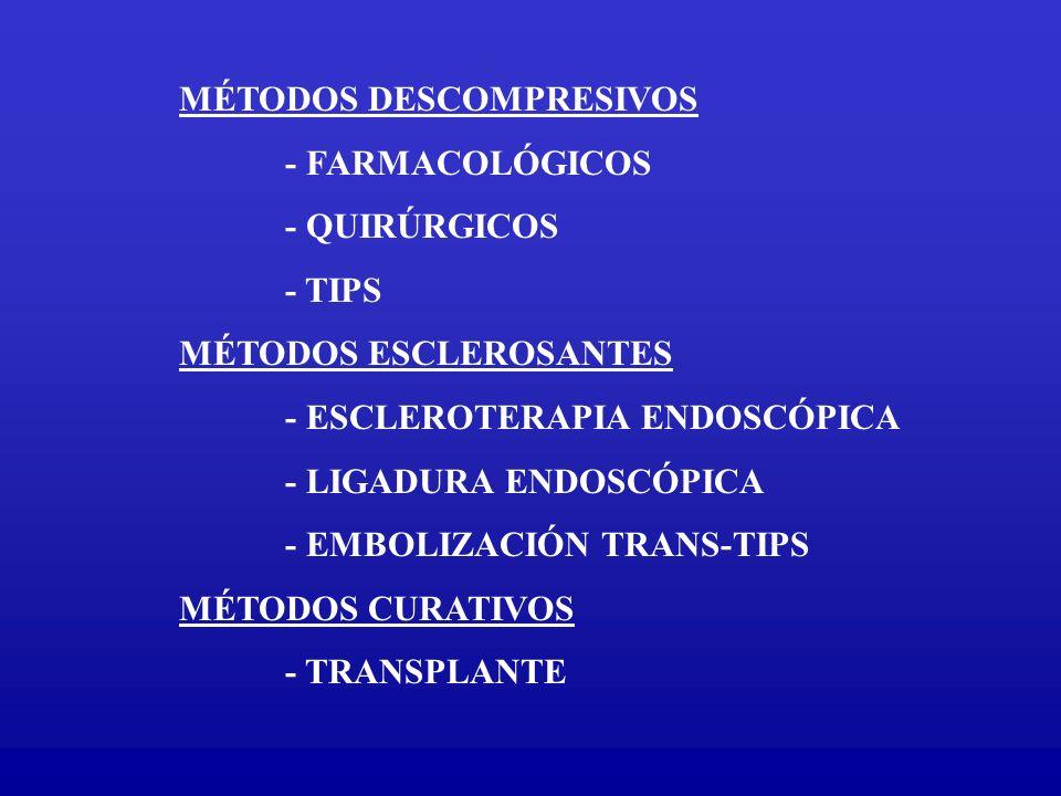 MÉTODOS DESCOMPRESIVOS - FARMACOLÓGICOS - QUIRÚRGICOS - TIPS MÉTODOS ESCLEROSANTES - ESCLEROTERAPIA ENDOSCÓPICA - LIGADURA ENDOSCÓPICA - EMBOLIZACIÓN