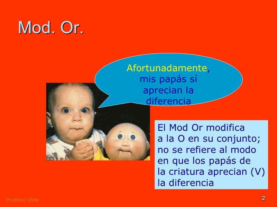 Prudenci Vidal 1 El modificador oracional Modifica al enunciado en su conjunto, no a un elemento del mismo, y expresa la actitud o la opinión del habl