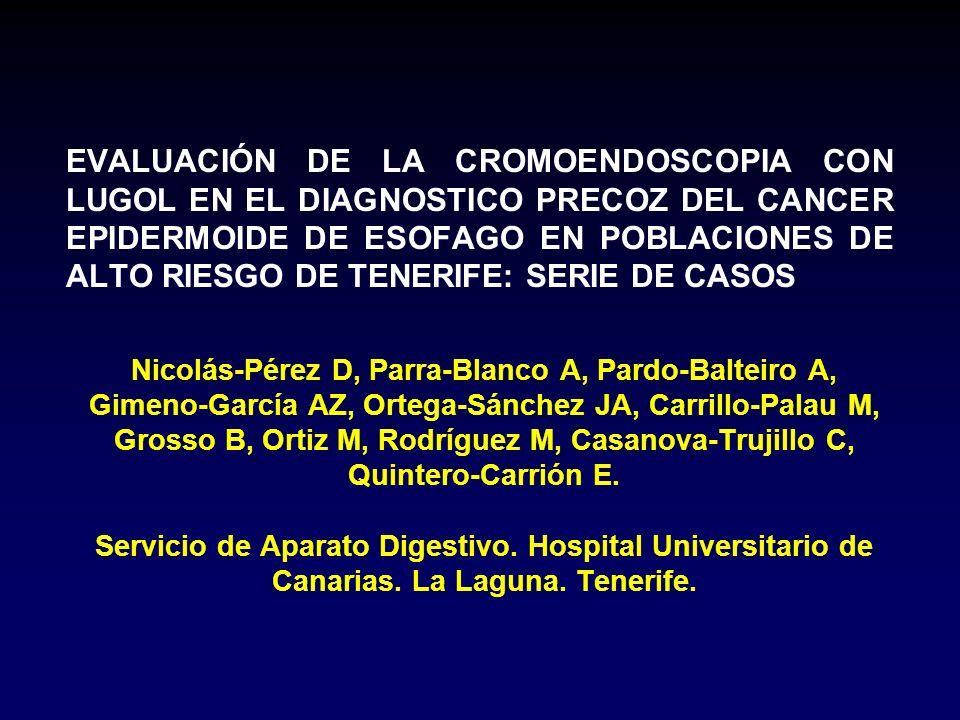Nicolás-Pérez D, Parra-Blanco A, Pardo-Balteiro A, Gimeno-García AZ, Ortega-Sánchez JA, Carrillo-Palau M, Grosso B, Ortiz M, Rodríguez M, Casanova-Tru