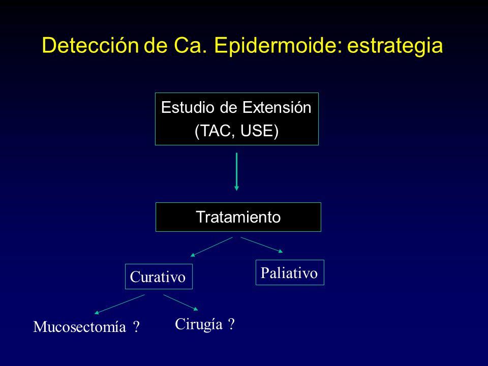 Detección de Ca. Epidermoide: estrategia Estudio de Extensión (TAC, USE) Tratamiento Mucosectomía ? Curativo Paliativo Cirugía ?