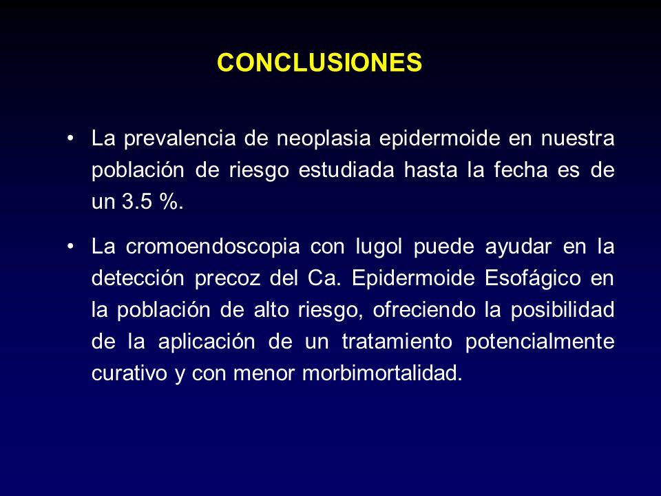 CONCLUSIONES La prevalencia de neoplasia epidermoide en nuestra población de riesgo estudiada hasta la fecha es de un 3.5 %. La cromoendoscopia con lu