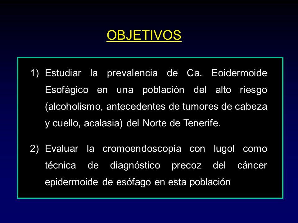 OBJETIVOS 1)Estudiar la prevalencia de Ca. Eoidermoide Esofágico en una población del alto riesgo (alcoholismo, antecedentes de tumores de cabeza y cu