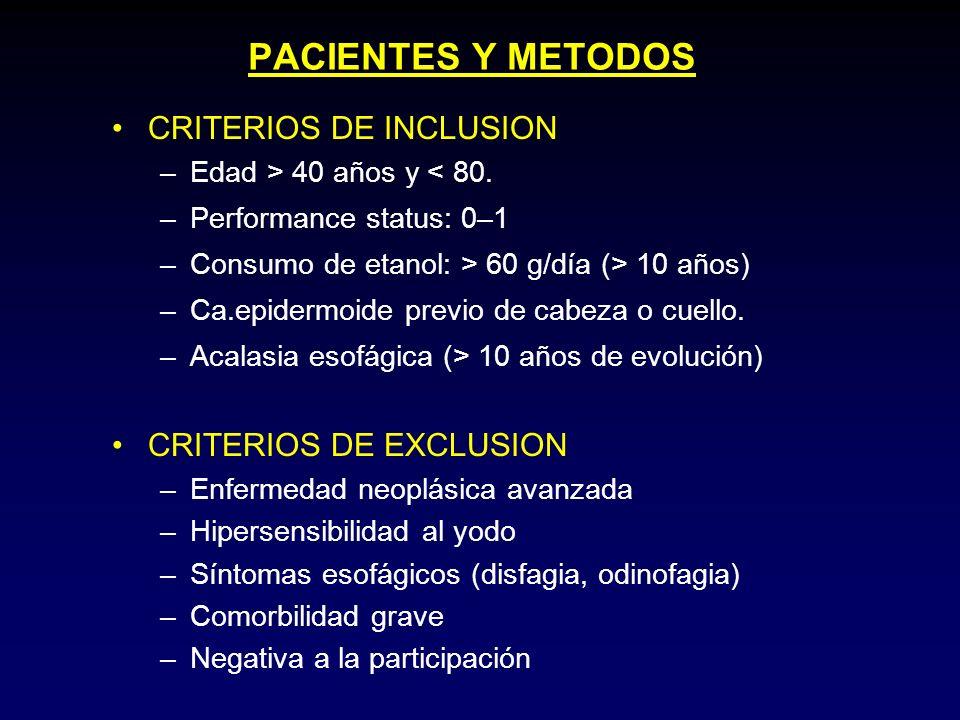 PACIENTES Y METODOS CRITERIOS DE INCLUSION –Edad > 40 años y < 80. –Performance status: 0–1 –Consumo de etanol: > 60 g/día (> 10 años) –Ca.epidermoide