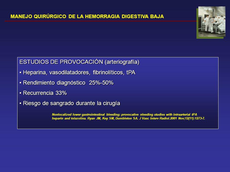 MANEJO QUIRÚRGICO DE LA HEMORRAGIA DIGESTIVA BAJA ESTUDIOS DE PROVOCACIÓN (arteriografía) Heparina, vasodilatadores, fibrinolíticos, tPA Heparina, vas