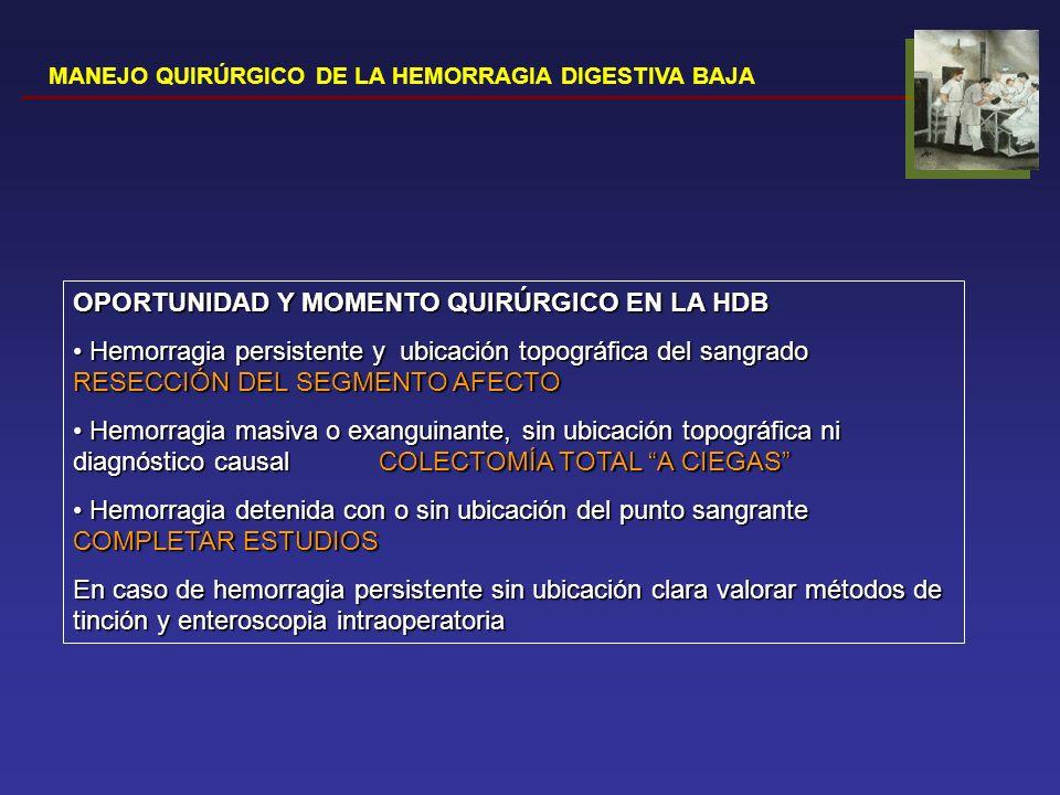 MANEJO QUIRÚRGICO DE LA HEMORRAGIA DIGESTIVA BAJA OPORTUNIDAD Y MOMENTO QUIRÚRGICO EN LA HDB Hemorragia persistente y ubicación topográfica del sangra
