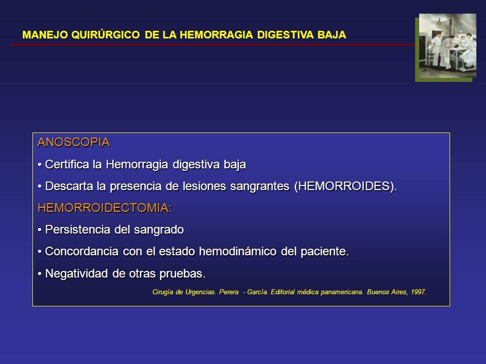 MANEJO QUIRÚRGICO DE LA HEMORRAGIA DIGESTIVA BAJA ENTEROSCOPIA PERORAL (colonoscopio/ overtube) Inserción media de 108cm pasado el ligamento de Treitz (60-150) Inserción media de 108cm pasado el ligamento de Treitz (60-150) Rendimiento diagnóstico variable (38%-75%) Rendimiento diagnóstico variable (38%-75%) Baja tasas de complicaciones: dolor abdominal, pancreatitis.