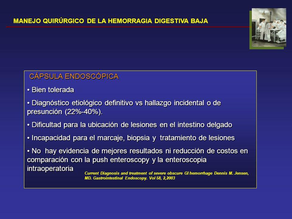 MANEJO QUIRÚRGICO DE LA HEMORRAGIA DIGESTIVA BAJA LAPAROTOMÍA EXPLORADORA Palpación Transiluminación Enterotomías múltiples con eversión de la mucosa Rendimiento diagnóstico 60%-65% DEBE ASOCIAR EIO Value of laparotomy in the diagnosis of obscure gastrointestinal haemorrhage.