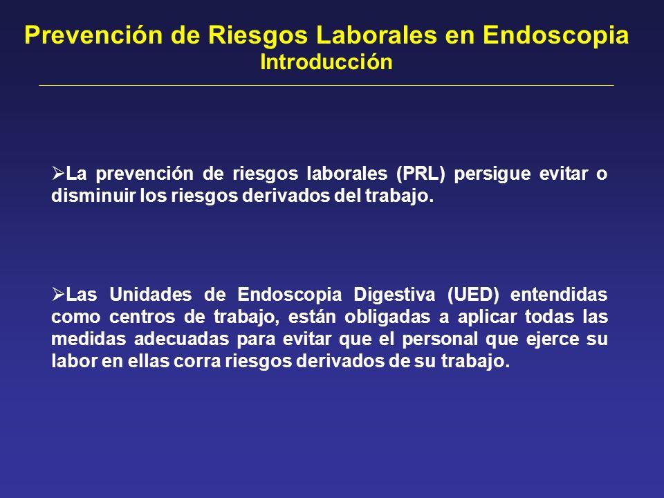 Prevención de Riesgos Laborales en Endoscopia Conclusiones En nuestro País las Unidades de Endoscopia Digestivas no cumplen las normativas de prevención de riesgos laborales en ninguno de los cuatro apartados valorados.
