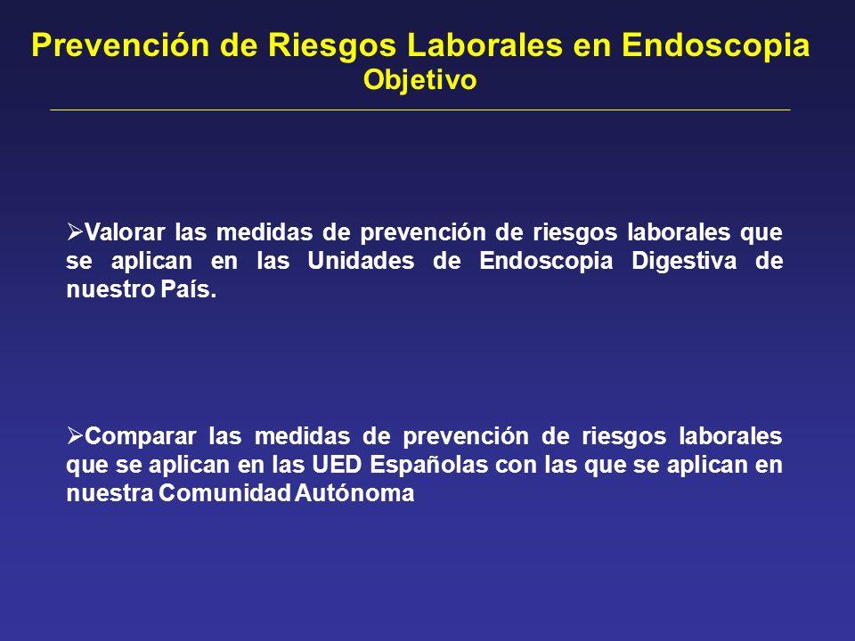 Valorar las medidas de prevención de riesgos laborales que se aplican en las Unidades de Endoscopia Digestiva de nuestro País. Comparar las medidas de