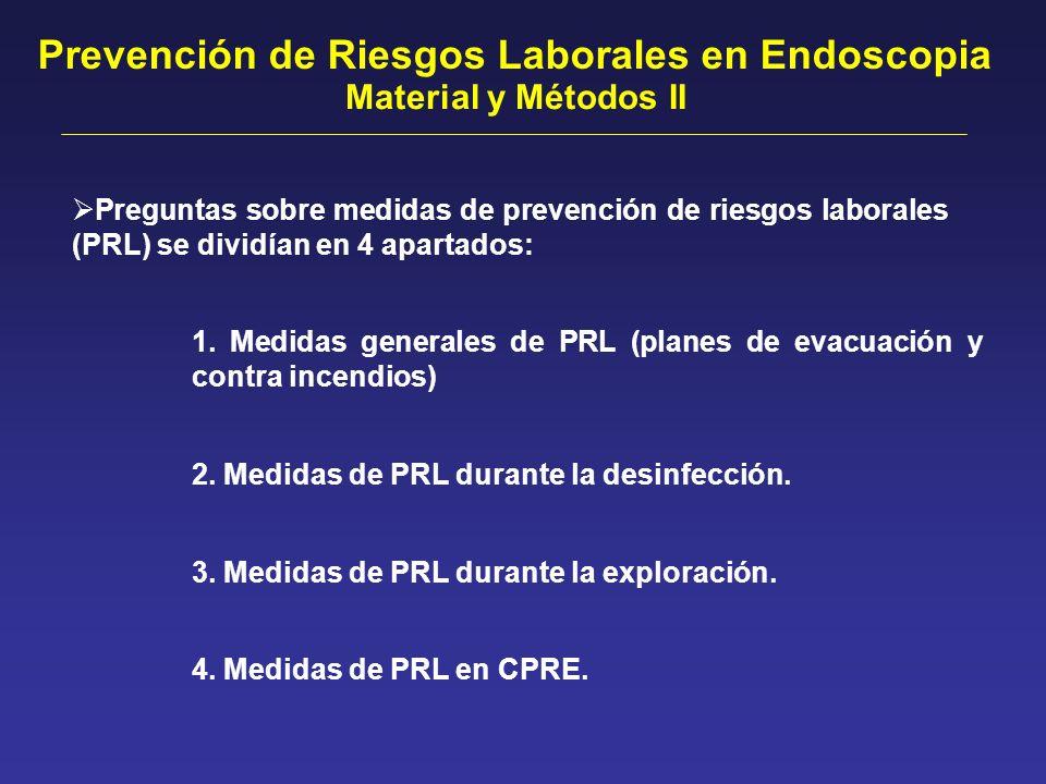 Preguntas sobre medidas de prevención de riesgos laborales (PRL) se dividían en 4 apartados: Prevención de Riesgos Laborales en Endoscopia Material y