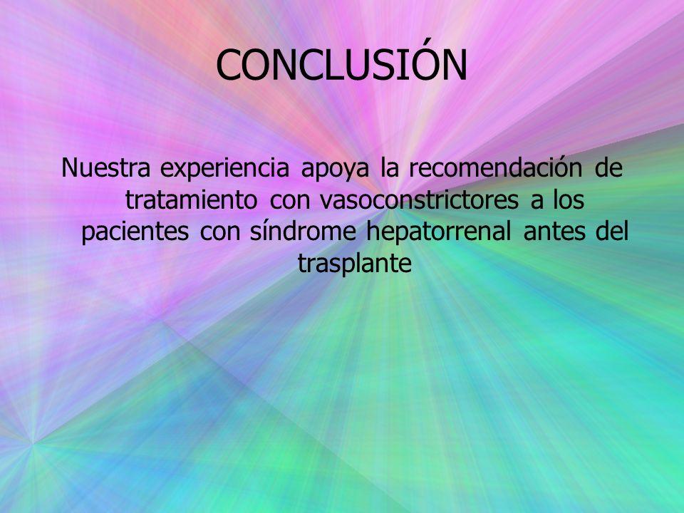 CONCLUSIÓN Nuestra experiencia apoya la recomendación de tratamiento con vasoconstrictores a los pacientes con síndrome hepatorrenal antes del trasplante