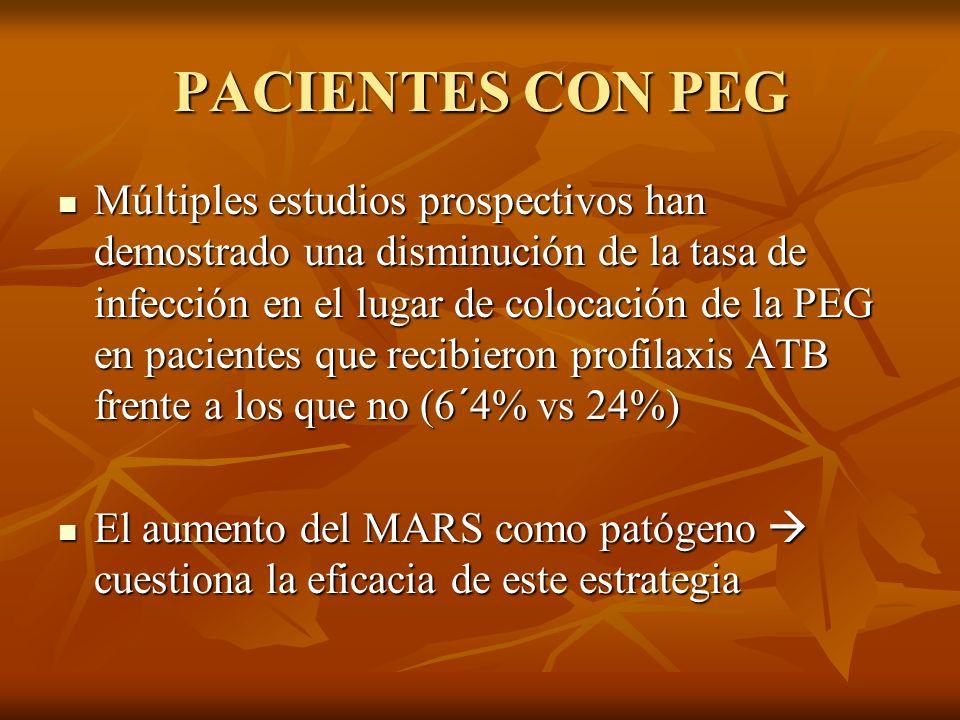PACIENTES CON PEG Múltiples estudios prospectivos han demostrado una disminución de la tasa de infección en el lugar de colocación de la PEG en pacien