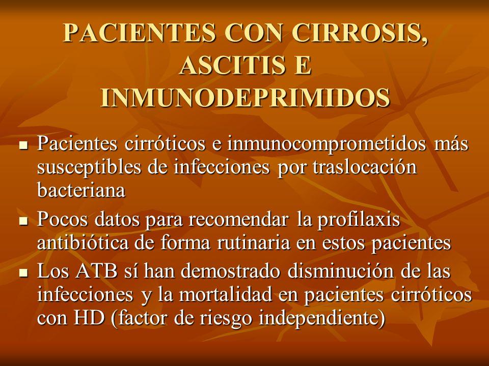 PACIENTES CON CIRROSIS, ASCITIS E INMUNODEPRIMIDOS Pacientes cirróticos e inmunocomprometidos más susceptibles de infecciones por traslocación bacteri