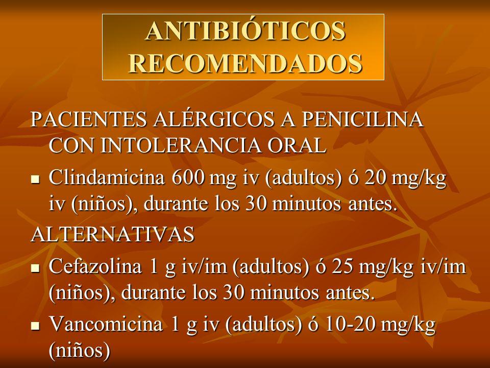ANTIBIÓTICOS RECOMENDADOS PACIENTES ALÉRGICOS A PENICILINA CON INTOLERANCIA ORAL Clindamicina 600 mg iv (adultos) ó 20 mg/kg iv (niños), durante los 3