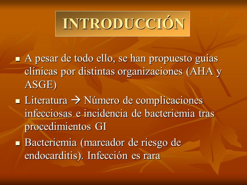 INTRODUCCIÓN A pesar del gran número de endoscopias llevadas a cabo Pocos casos descritos de endocarditis bacteriana A pesar del gran número de endoscopias llevadas a cabo Pocos casos descritos de endocarditis bacteriana Otras complicaciones infecciosas: Peritonitis bacteriana, Infección del SNC, Abscesos periféricos Otras complicaciones infecciosas: Peritonitis bacteriana, Infección del SNC, Abscesos periféricos Microorganismos aislados en hemocultivos Comensales de la boca (S.