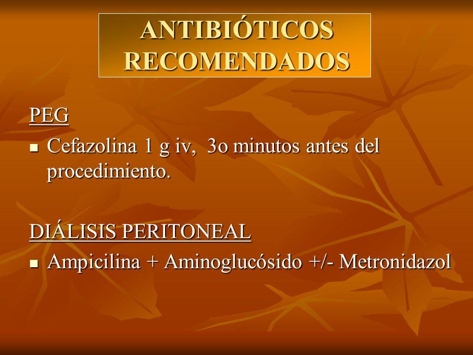 ANTIBIÓTICOS RECOMENDADOS PEG Cefazolina 1 g iv, 3o minutos antes del procedimiento. Cefazolina 1 g iv, 3o minutos antes del procedimiento. DIÁLISIS P