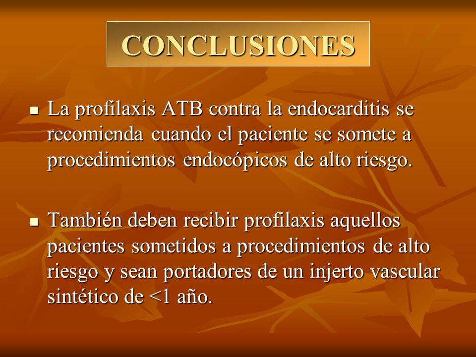 CONCLUSIONES La profilaxis ATB contra la endocarditis se recomienda cuando el paciente se somete a procedimientos endocópicos de alto riesgo. La profi